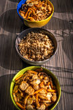 Peanuts and salty snacks Stock Images