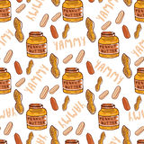 Peanuts seamless pattern with cute butter jar. Sketched nuts hand drawn vector background. Stock Photo
