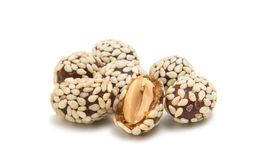 Peanuts in sesame seeds stock photos