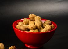 Peanuts in shell on dark background, close up. Peanuts, Arachis hypogaea, in shell on dark background, close up, selective focus Stock Photos