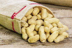 Peanuts in shell on jute fabric bag Stock Photo