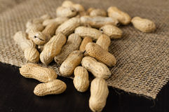 Peanuts in shell. Scattered on jute tablecloth stock image