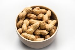 Isolated peanuts on white background stock photos