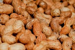 Peanuts in shell texture background. Raw peanuts on display at a farmer`s market