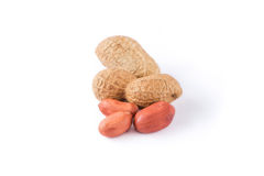 Peanuts. Some peanuts on white background stock photography