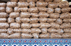 Peanuts Stacked In Plastic Bags Royalty Free Stock Photos