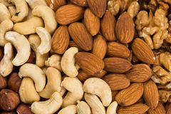 Peanuts, walnuts, almonds, hazelnuts and cashews nuts Stock Photo
