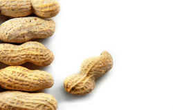 Peanuts on White Background Stock Photos