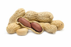 Peanuts on white background Royalty Free Stock Image