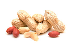 Peanuts. On a white background Royalty Free Stock Photography
