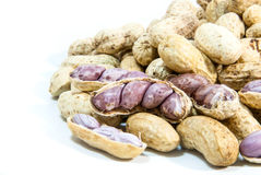 Peanuts on a white background Royalty Free Stock Image