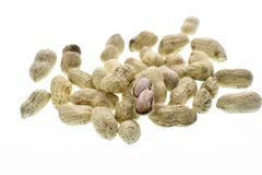 Peanuts on a white background stock photos
