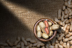 Peanuts in a Wooden Bowl Stock Images