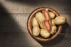 Peanuts in a Wooden Bowl Royalty Free Stock Photo