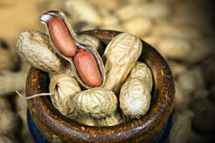 Peanuts in a Wooden Bowl Royalty Free Stock Photos
