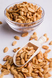 Peanuts on wooden scoop Royalty Free Stock Photo