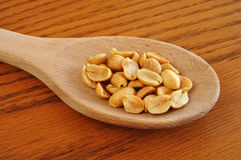Peanuts on Wooden Spoon Royalty Free Stock Photography