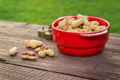 Peanuts on wooden table. In the backyard royalty free stock image