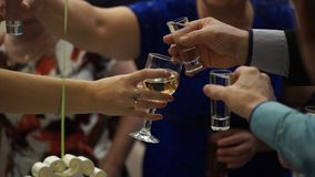 Peaople på parti- eller bröllopjublen med skottexponeringsglas Vänner som rostar med skottexponeringsglas vänner grupperar lyckli fotografering för bildbyråer