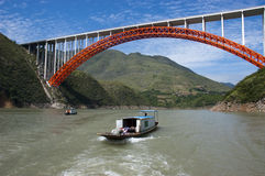 Peapod Water Taxi Boat Yangtze River, China Travel. Peapod style water taxi boat on Yangtze River in China. This is a common sight for people who travel to the Royalty Free Stock Photography