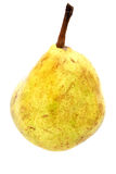 Pear. Yellow, spotted pear by closeup against the white background Royalty Free Stock Photos