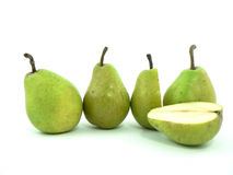 Pear. Whole and cut pears on white background stock photo