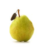 Pear. Yellow pear with leaf isolated over white background royalty free stock photography