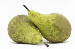 Pear. Pair of juicy pears limoneras,  on white Royalty Free Stock Image