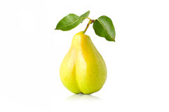 Pear. Ripe juicy pear with leaves on a white background Stock Photography