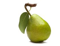 Pear. Close-up of green pear with leaf isolated on white royalty free stock photography