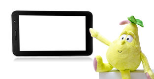 Pear. Pointing on tablet on a white background Royalty Free Stock Photos