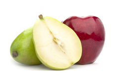 Pear and apple stock photos