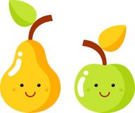 Pear and apple. Pears and apples are green and yellow Stock Image