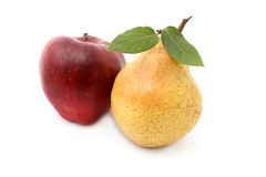 Pear and apple. Isolated on white Stock Photos