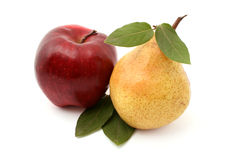 Pear and apple. Isolated on white Royalty Free Stock Photo