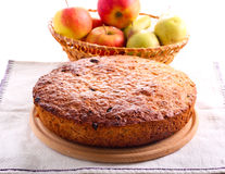 Pear and apple cake. With cinnamon on plate Stock Photos