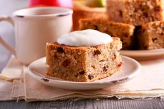 Pear and apple cake with raisin. Served Stock Image