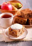 Pear and apple cake with raisin. Served Royalty Free Stock Photos
