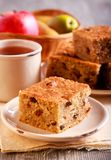 Pear and apple cake with raisin. Served Royalty Free Stock Photography
