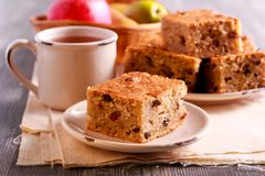 Pear and apple cake with raisin. Served Stock Photo