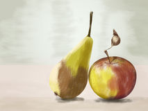 Pear and apple drawing Royalty Free Stock Images