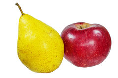 Pear and apple. Fruit isolate vitaminm harvest Stock Photography
