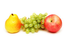 Pear, apple and grapes stock photography