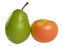 Pear and apple isolated Stock Images