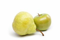 Pear and apple isolated on white. Pear and apple isolated on white background Royalty Free Stock Photography