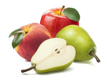 Pear apple peach isolated on white background. As package design element Stock Photo