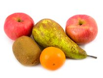 Pear apples with tangerine. Fruit pear tangerine and apples on white background Stock Photo