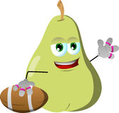 Pear as American football player Royalty Free Stock Photo