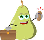 Pear as businessman with phone Stock Image
