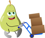 Pear as delivery man Royalty Free Stock Photography